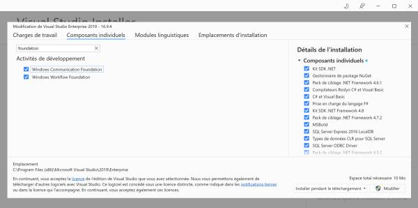 Visual Studio Installer affichant WF et WCF