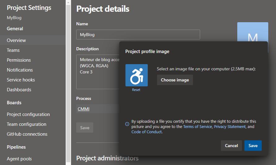 Formulaire de sélection d'une image pour le projet