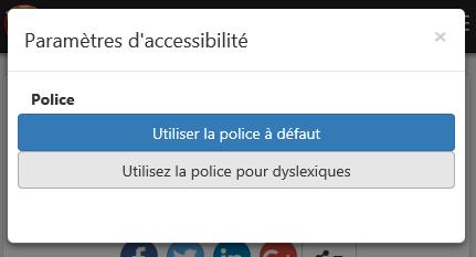 Boite de dialogue des options d'accessibilité