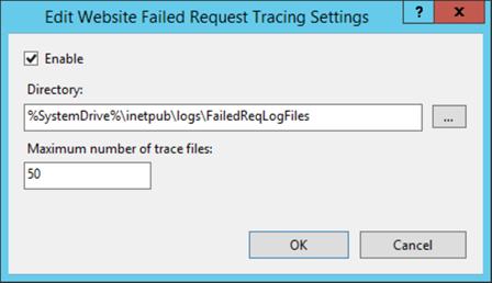 On active le tracing et on peut choisir le répertoire de log, et le nombre d'enregistrements à conserver