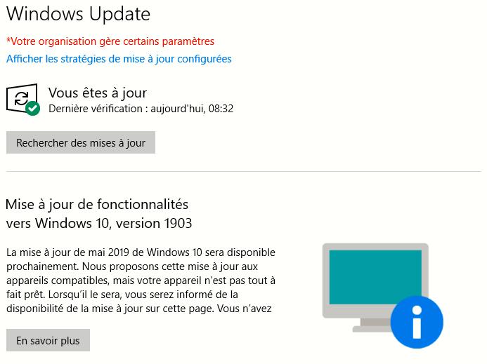 Windows Update affichant l'indisponibilité des nouvelles fonctionnalités sur un PC incompatible