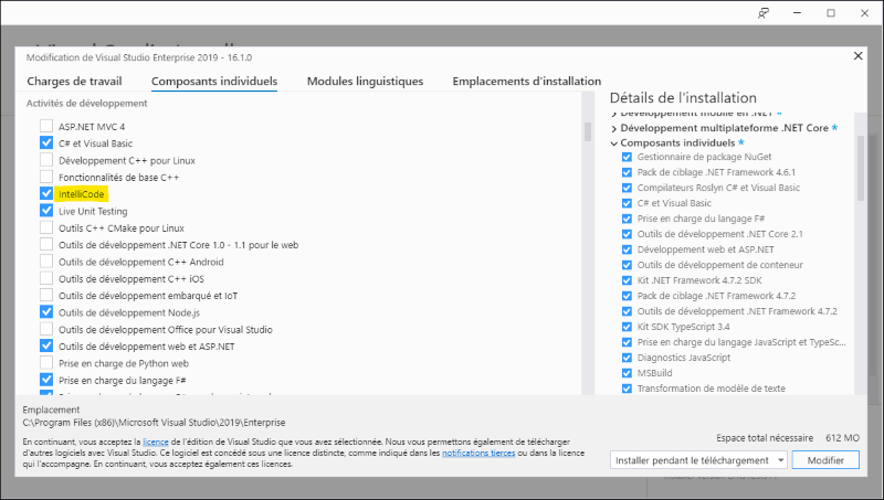 Ecran d'installation d'Intellicode dans Visual Studio Installer