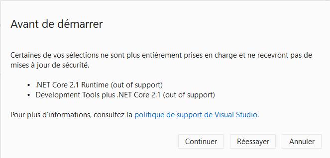 Visual Studio Installer indique la fin des mises à jour de sécurité pour les composants .net core 2.1
