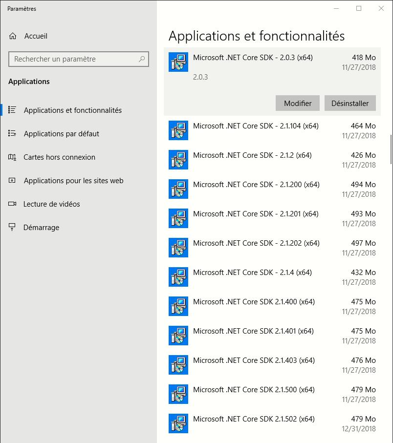 Très longue liste de SDK .net core installés sur un PC
