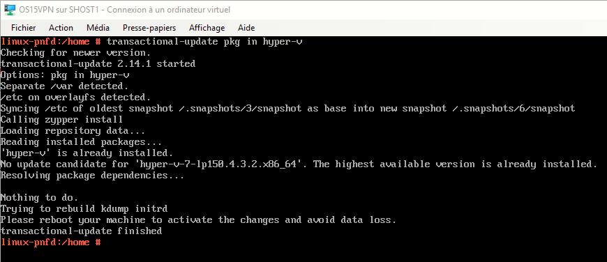 Installation échouée du package hyper-v