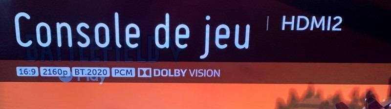 Photo de la configuration du port HDMI relié à la Xbox : 4k BT 2020, Dolby Vision