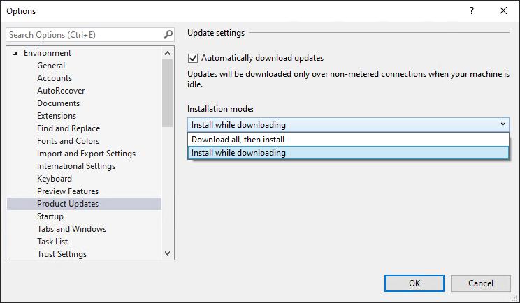 Ecran d'édition des options de Visual Studio 2019