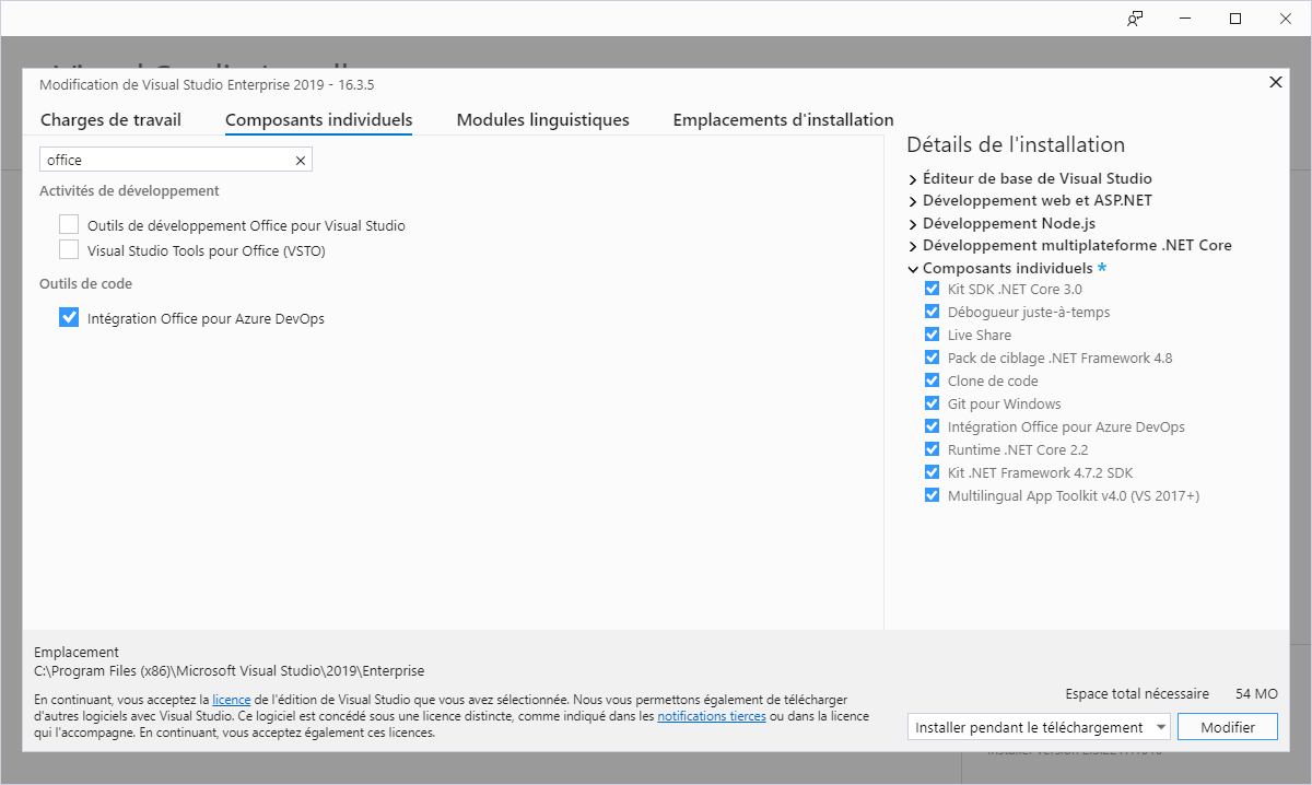 Désinstallation des compléments office via Visual Studio Installer