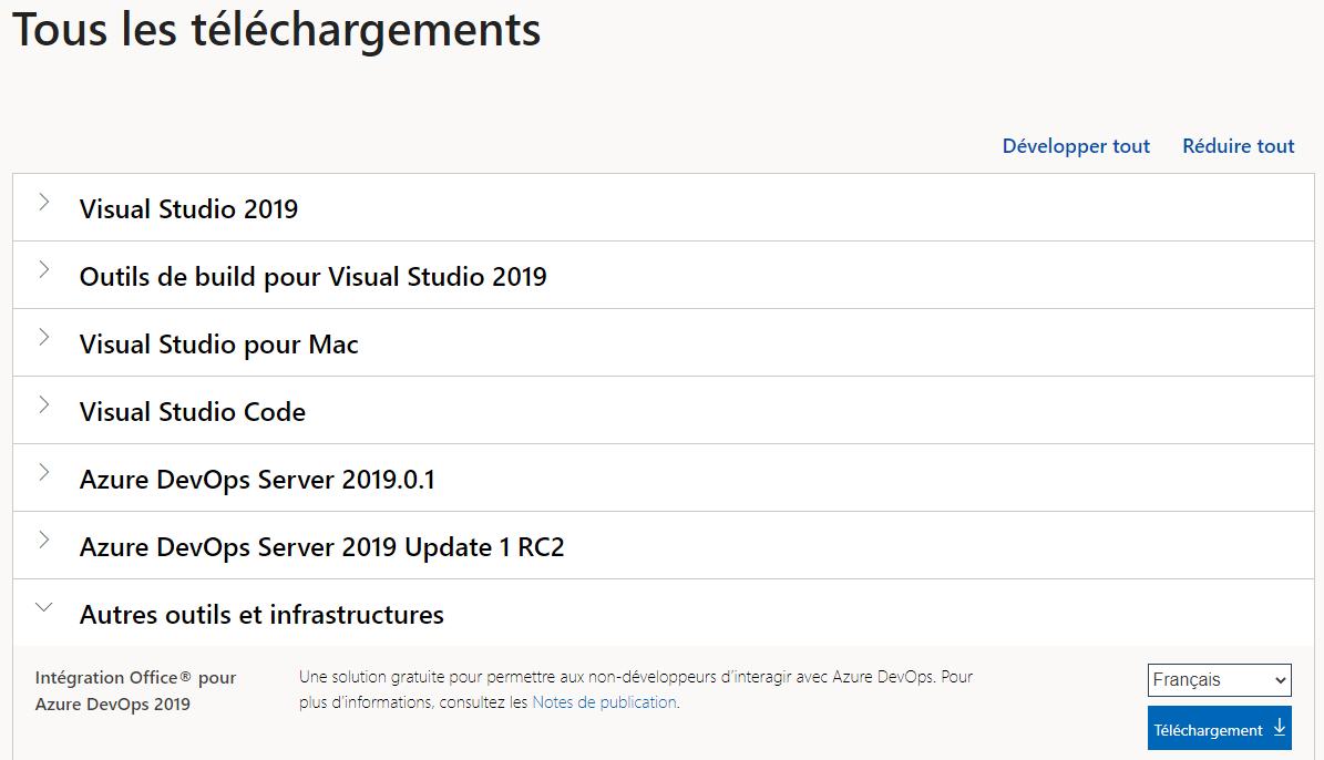 Page de téléchargement des composants Office pour Azure DevOps