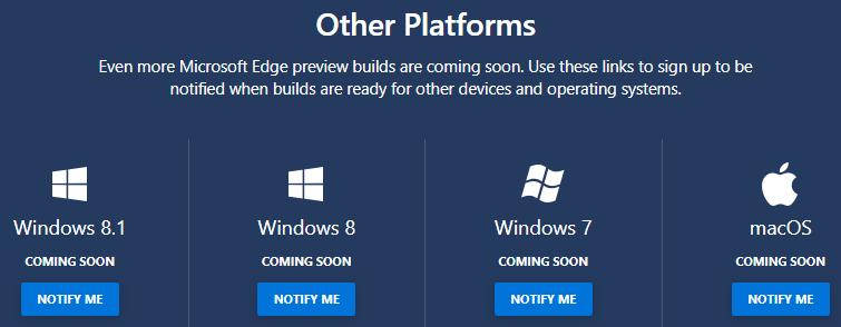 Liste des plateformes ciblées par Edge (Windows 8, 7 et macOS)