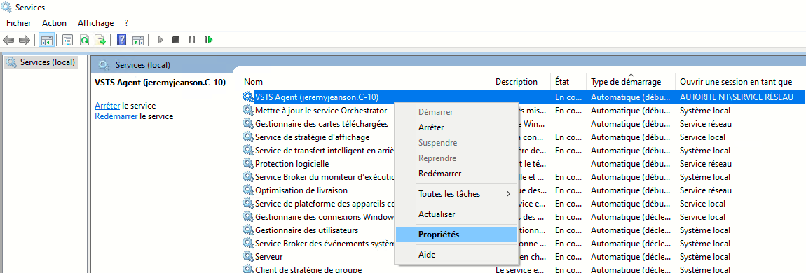 Identification du service windows