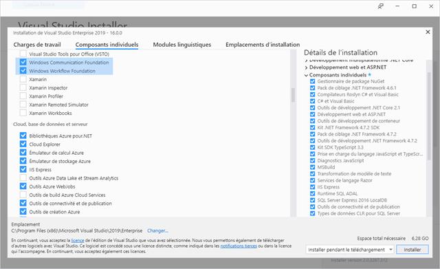 Il est possible de selectionner WCF et Workflow foundation dans la liste des fonctionnalités disponibles